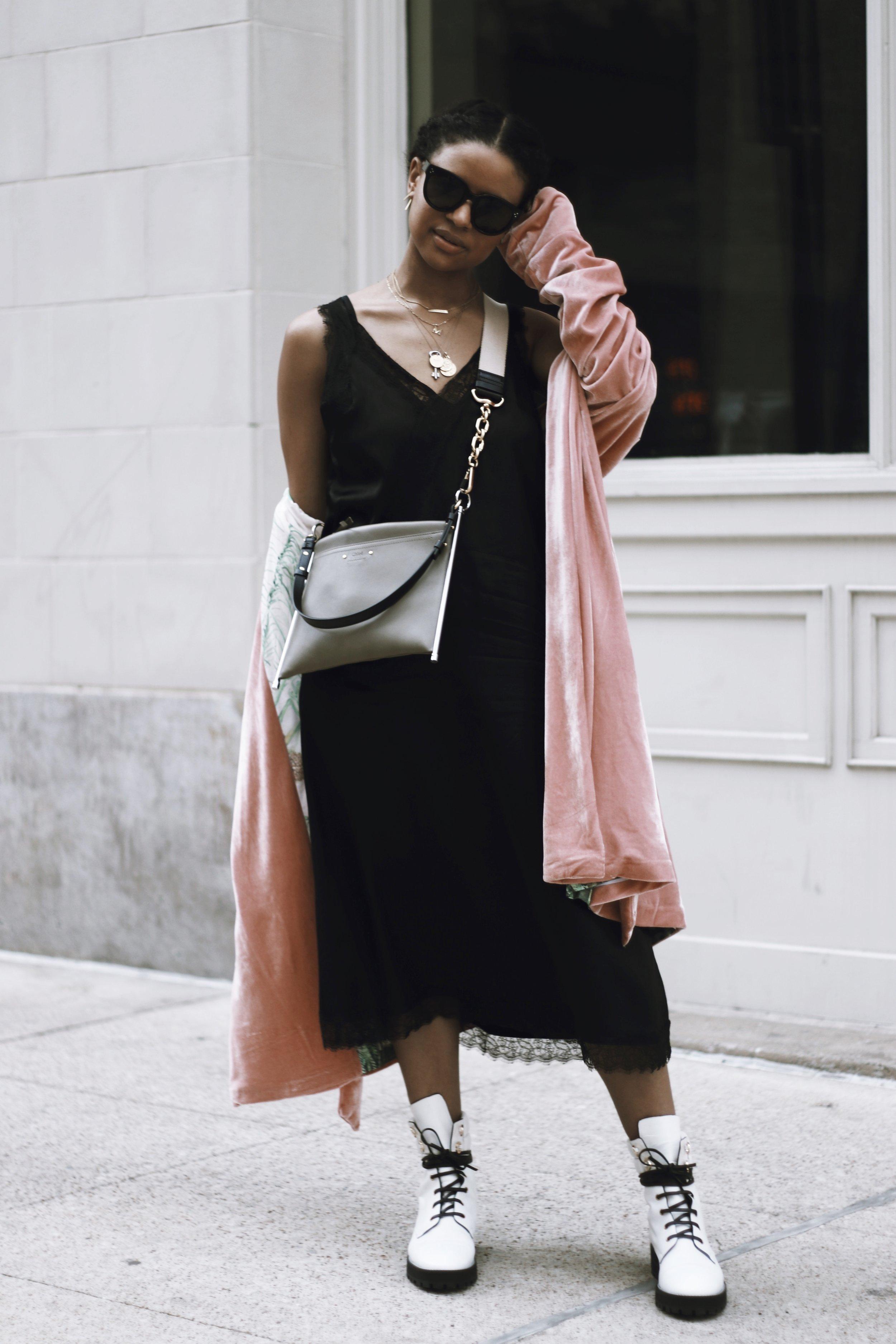 Old Slip Dress, similar  here  +  here .  Velvet Kimono , c/o Americae.  Boots .  Crossbody . Layered Necklaces, similar  here  +  here .