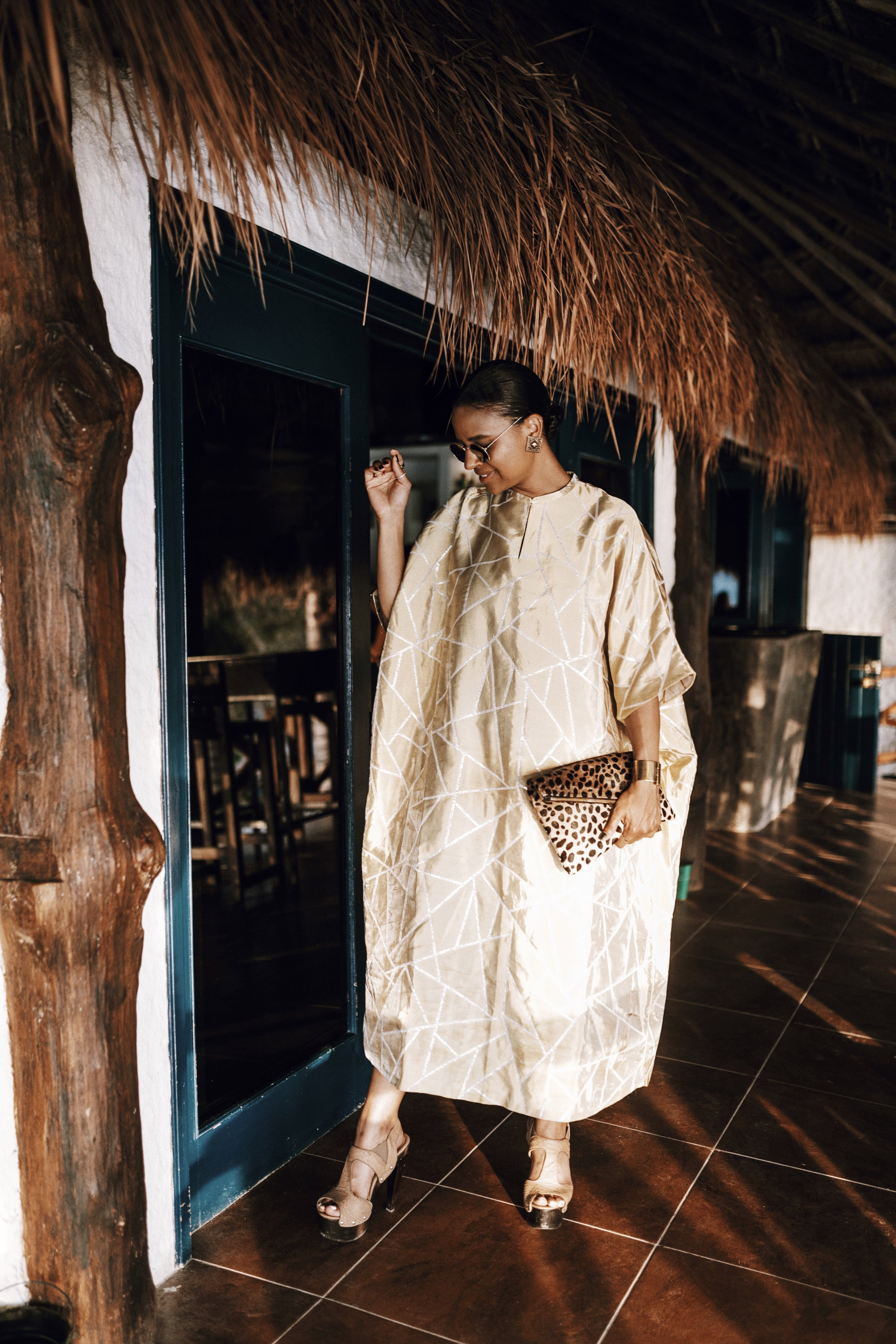 Most nights I wore some variation of a swimsuit + cover up, but decided one night deserved a little more effort so I opted for a flowy caftan and platform heels.